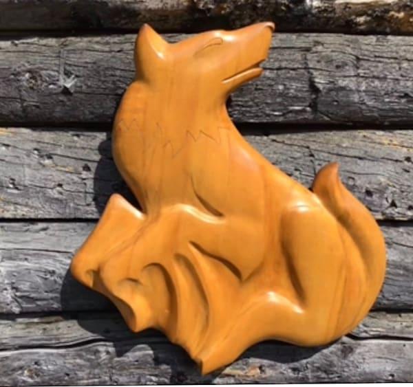 Regal Wolf Wall Carving Art | treshamgregg - spiritart