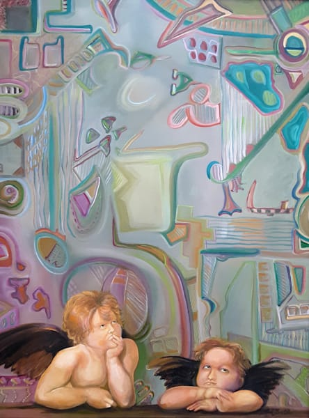 Raphael's Cherubs Pondering The Abstract Art   Art Impact® International Inc