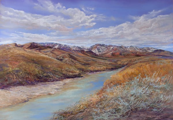 Lindy Cook Severns Art | Snowy Peaks on the Rio Grande, print