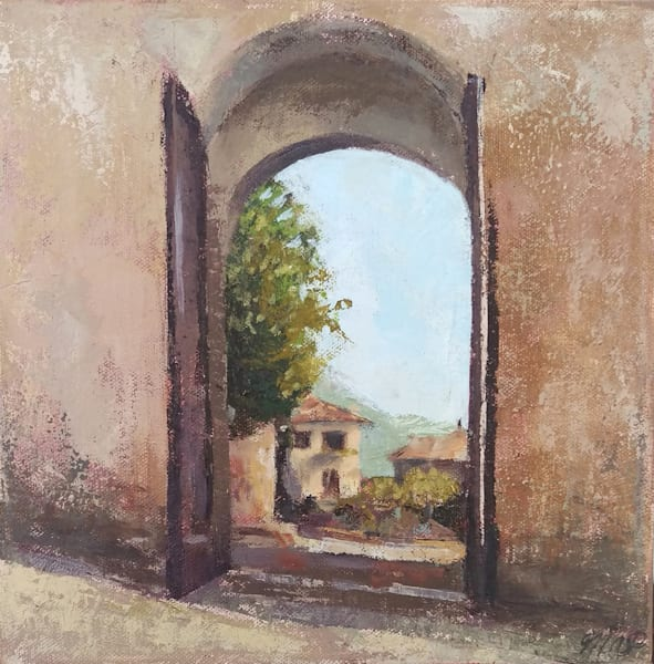 Assisi Gate Original Oil Painting 10x10 Art | Michelle Arnold Paine Fine Art