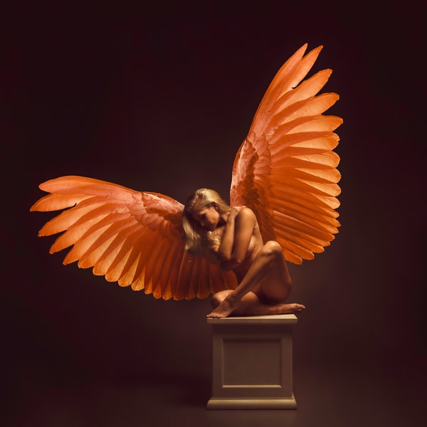 Liz on Pedestal with Wings