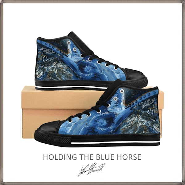 Holding The Blue Horse High Tops | Loree Harrell Art