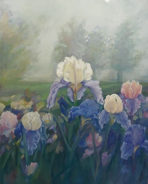 Commissioned oil painting of client's garden