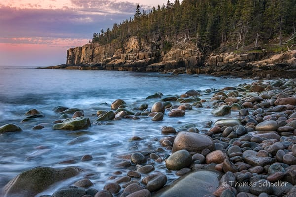 Acadia National Park | Otter Cliffs viewed from Boulder beach at Dawn - prints for sale
