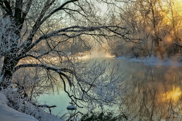 Spring River Snow Ice Steam 3367 Fss Art | Koral Martin Fine Art Photography