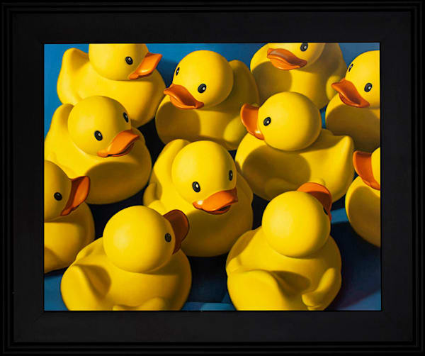 Rubber ducks are clustered together in this painting