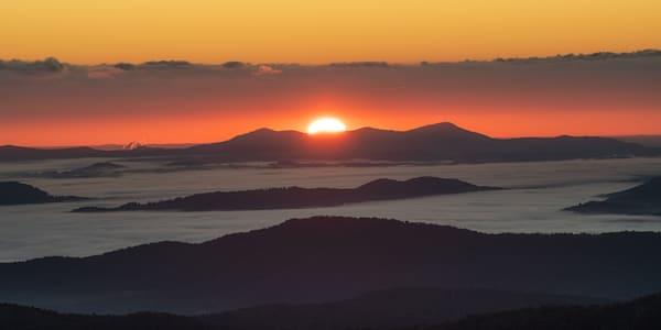 The Sun Rises On The Misty Blue Ridge Mountains