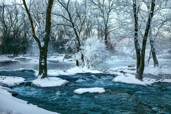 Frosted   Spring River With Snow And Freezing Fog 3201 Art | Koral Martin Fine Art Photography