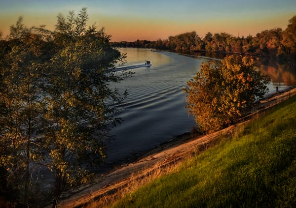 Sacramento River Levee And Boat Art | Patrick Cosgrove Art and Photography