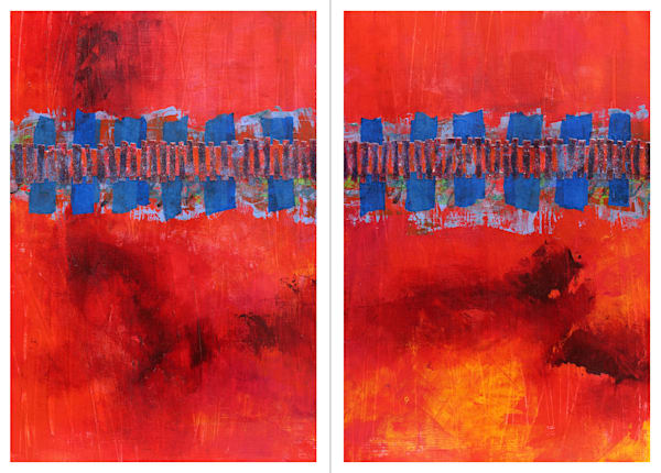 Crossing Embers (Diptych) - Original Abstract Painting | Cynthia Coldren Fine Art