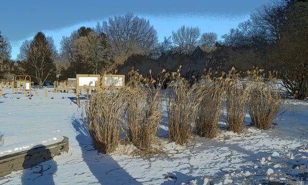 Snowy Blues Narrowsburg NY Flats mixed media art by Debra Cortese