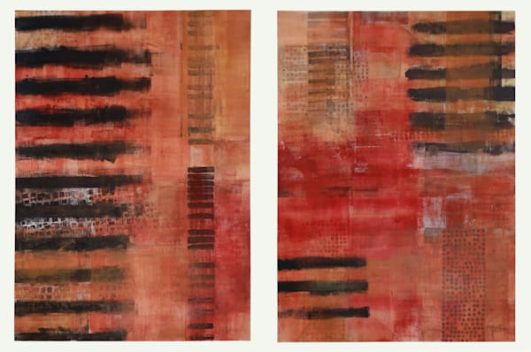 Elemental Marks (Diptych) - Original Abstract Painting | Cynthia Coldren Fine Art