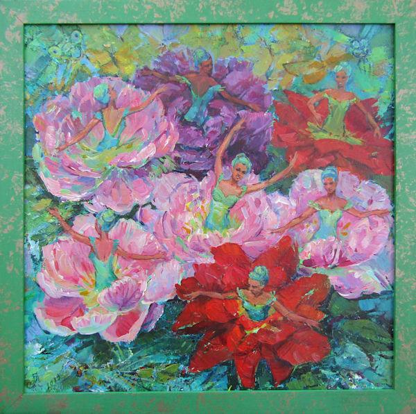 Original acrylic painting Flower dance