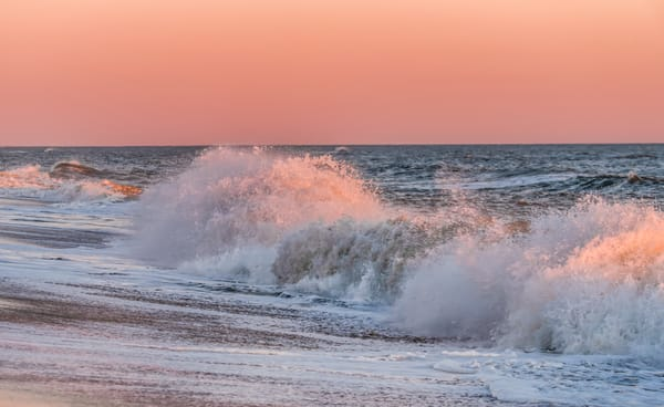 South Beach Winter Crashing Pink Waves Art | Michael Blanchard Inspirational Photography - Crossroads Gallery