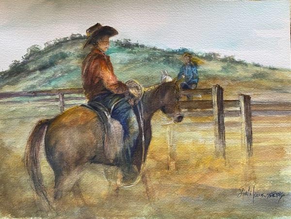 Lindy Cook Severns Art | His Favorite Roper, original watercolor