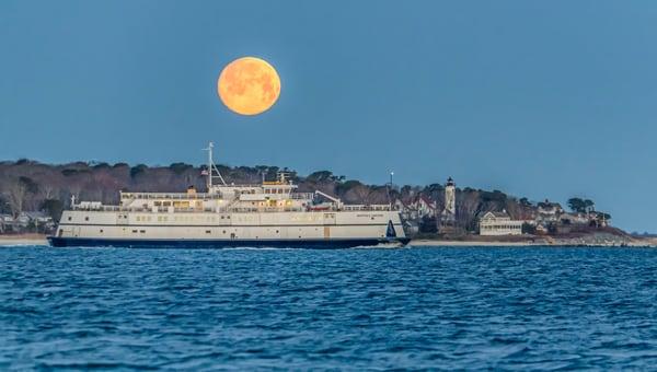 Steamship Ferry Snow Moon Art | Michael Blanchard Inspirational Photography - Crossroads Gallery