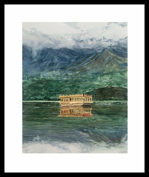 """The Calm of Dal Lake Srinagar"" in Watercolors by Aprajita Lal (Original 11x14)"
