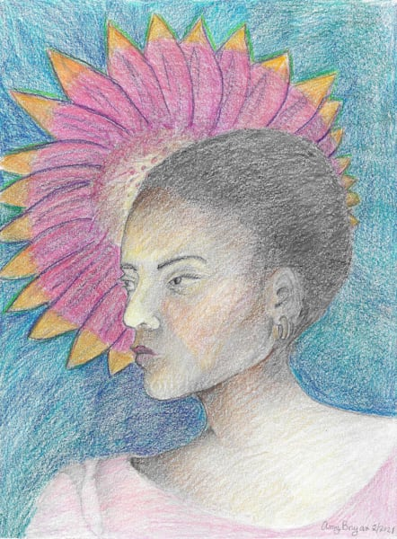 Portrait With Pink Flower Art | New Orleans Art Center