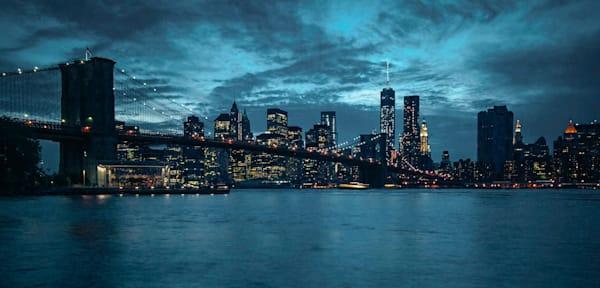 Brooklyn Bridge and Manhattan Skyline a Night