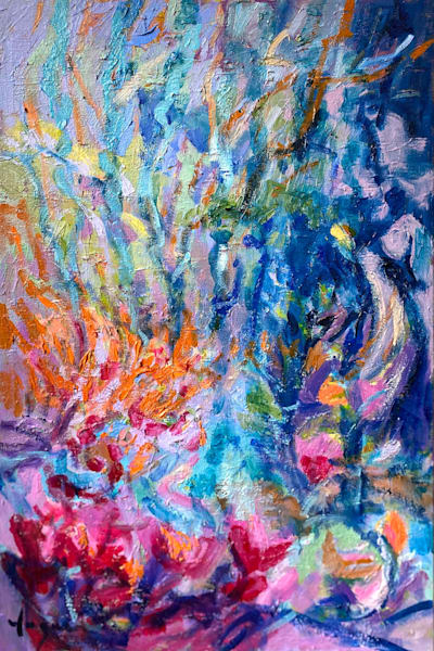 Blue Coral Abstract Floral Oil Painting, Original Art by Dorothy Fagan