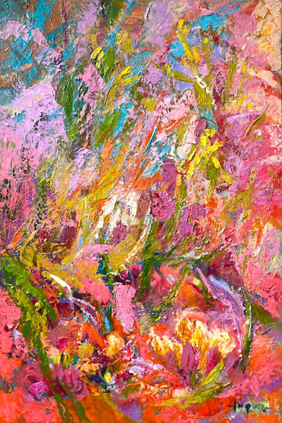 Gorgeous Coral Abstract Painting, Original Oil by Dorothy Fagan