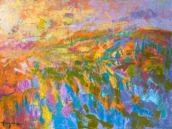 Dramatic Sunset Moonrise Painting, Original Oil by Dorothy Fagan