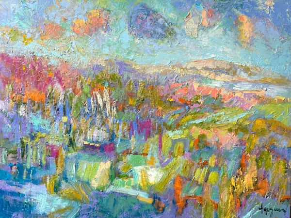 Beautiful Pastel Color Landscape Painting, Original Oil by Dorothy Fagan
