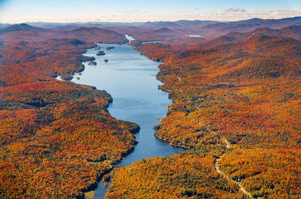 Indian Lake Fall Aerial V1 Photography Art | Kurt Gardner Photogarphy Gallery