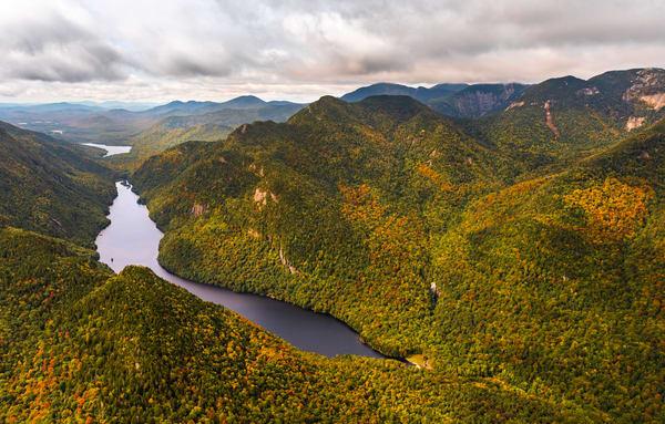 Lower Ausable Rainbow Falls Aerial Photography Art | Kurt Gardner Photogarphy Gallery