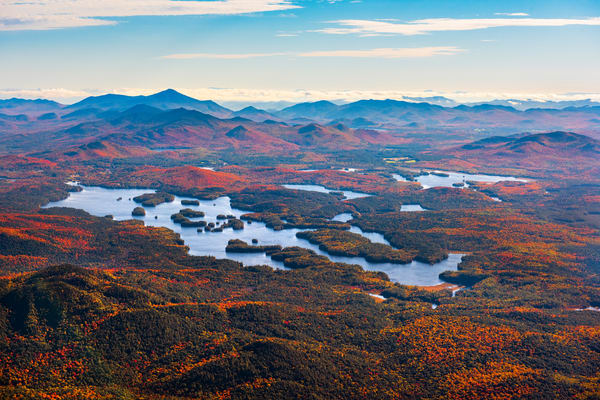 Lower Saranac Lake Fall Aerial Photography Art | Kurt Gardner Photogarphy Gallery