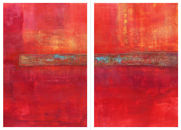 Firemarks (Diptych) - Original Abstract Painting | Cynthia Coldren Fine Art