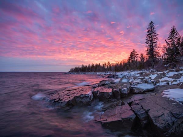 Sunset on Stoney Point along Lake Superior