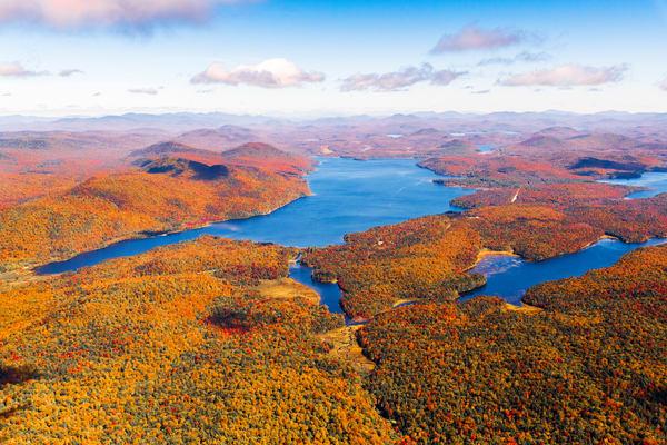 Piseco Lake Fall Aerial V Photography Art | Kurt Gardner Photogarphy Gallery