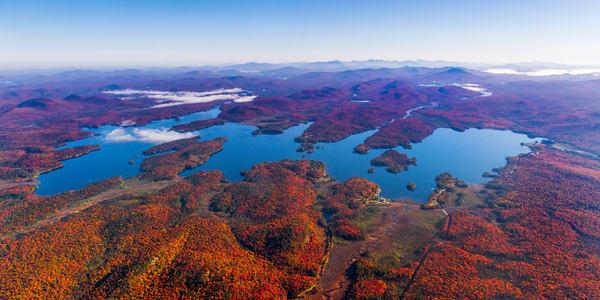 Raquette Lake Fall Aerial Wide Photography Art | Kurt Gardner Photogarphy Gallery