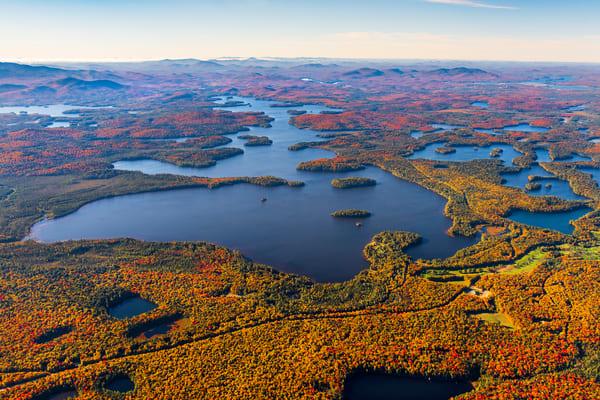 Upper Saranac Fall Aerial Photography Art | Kurt Gardner Photogarphy Gallery