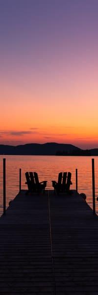 4th Lake Sunset Beach Adk Chairs Panoramic Photography Art | Kurt Gardner Photogarphy Gallery
