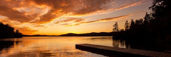 7th Lake Boat Launch Sunset Panoramic Photography Art | Kurt Gardner Photogarphy Gallery