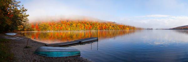 8th Lake Fall Dock Panoramic Photography Art | Kurt Gardner Photogarphy Gallery