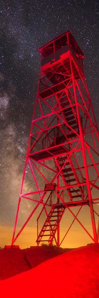 Bald Mt Red Fire Tower Milky Way Vert Panoramic Photography Art | Kurt Gardner Photogarphy Gallery