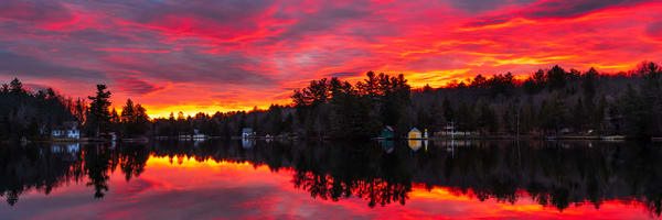 Old Forge Pond Pink Sunrise Panoramic Photography Art | Kurt Gardner Photogarphy Gallery
