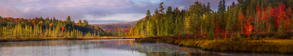 Raquette Lake Fall Outlet Cropped Panoramic Photography Art | Kurt Gardner Photogarphy Gallery