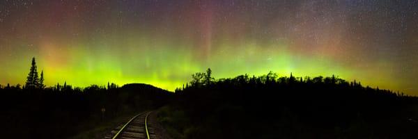 Northern Light Adk Train Tracks Panoramic Photography Art | Kurt Gardner Photogarphy Gallery