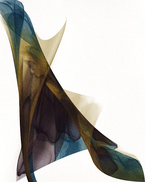 Number 10 Togetherness Abstract Ink Abstract Teal Brown Art | onlythemoon