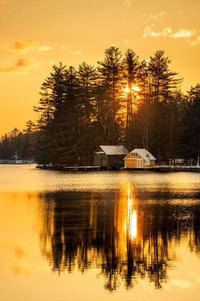 Old Forge Pond Spring Yelow Boat House Photography Art | Kurt Gardner Photogarphy Gallery