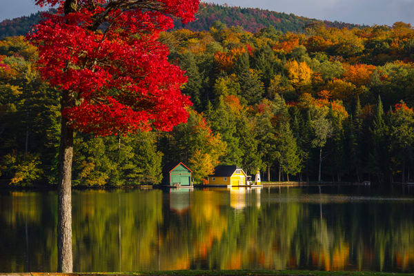 Old Forge Pond Yellow Boat House Fall Photography Art | Kurt Gardner Photogarphy Gallery