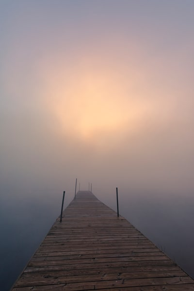 Raquette Lake Store Foggy Dock Photography Art | Kurt Gardner Photogarphy Gallery