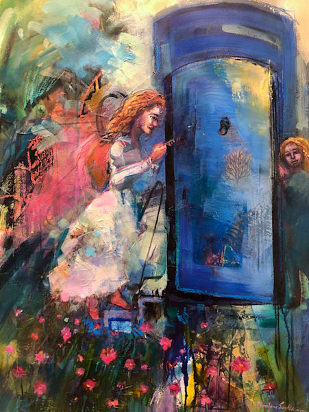 Romantic prophetic art by Monique Sarkessian oil painting of a woman unlocks her ancestral gates as the young girl version of her waits on the other side in anticipation of reaching her destiny.