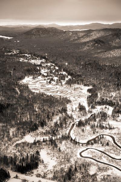 Moose River Winter Vert Bw Aerial Photography Art | Kurt Gardner Photogarphy Gallery