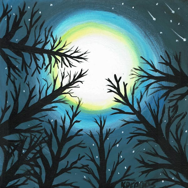 Moonlit Pines Acrylic Painting