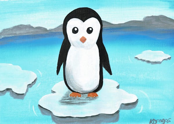 Cute Penguin Acrylic Painting